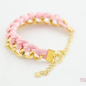 Pink Single Twist Knot Chain Bracel..