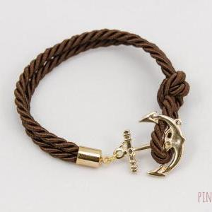 Anchor Bracelet , Dark Brown Rope B..