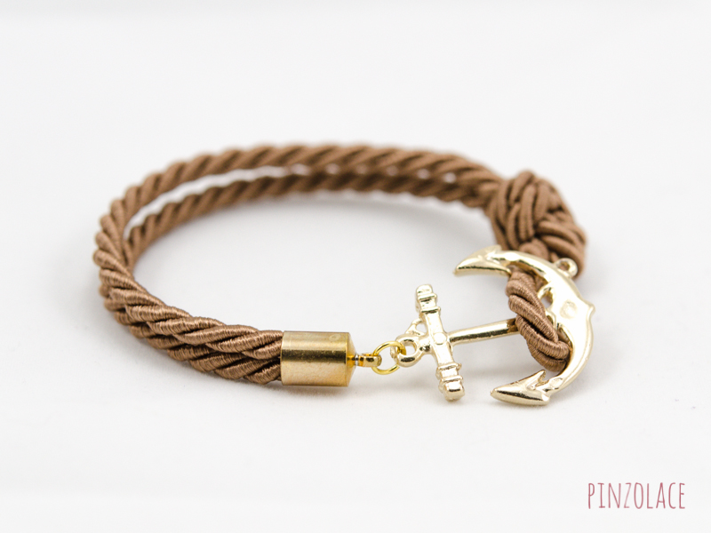 Gold Anchor Rope Bracelet With Dark Brown Color Bridesmaid Gift
