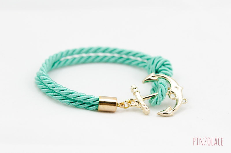 Teal Nautical Rope Bracelet With Anchor Bridesmaid Gift