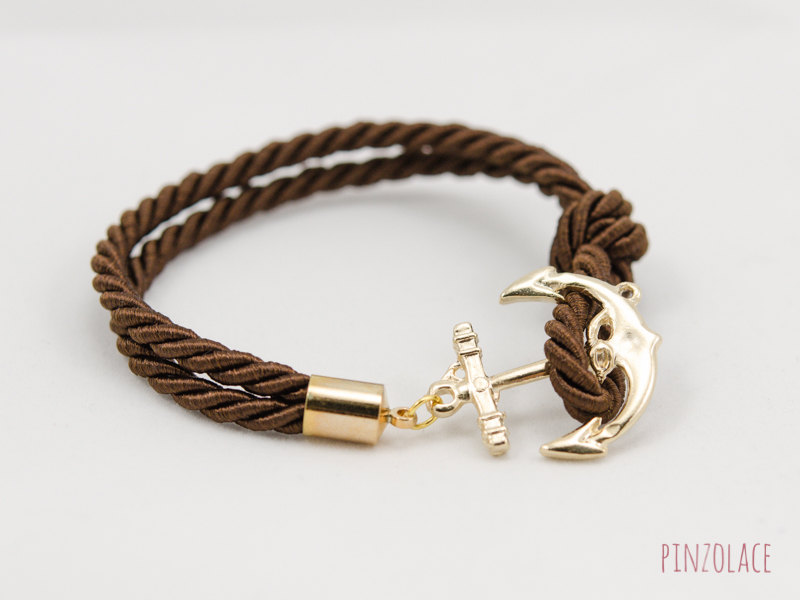 Anchor Bracelet , Dark Brown Rope Bracelet , Friendship Bracelet , Nautical Rope Bracelet