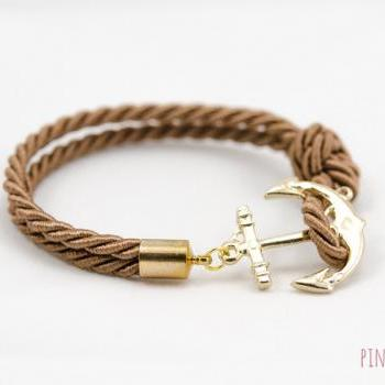 Gold Anchor Rope Bracelet with brown color , Anchor Bracelet , Gold Rope Bracelet with anchor , bridesmaid gift rope bracelet