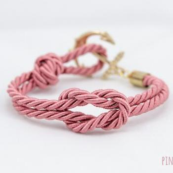 Anchor Tie the Knot Bracelet with coral pink , Anchor bracelet ,Nautical Square Knot Bracelet,bridesmaids gift